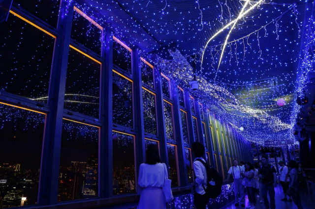 Tokyo Tower is bathed in beautiful blue for Milky Way Illumination and Tanabata celebration