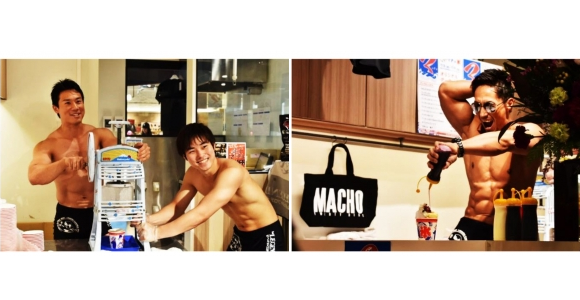 Hot and cold — Shirtless muscle man shaved ice cafe now open in Tokyo