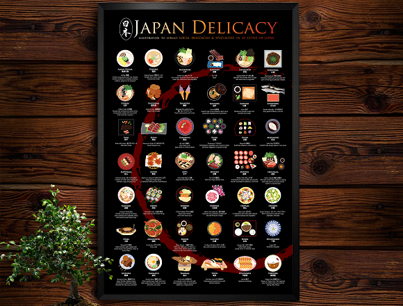 Japan Delicacy Poster shows off delicious local dishes from 42 regions in one gorgeous print