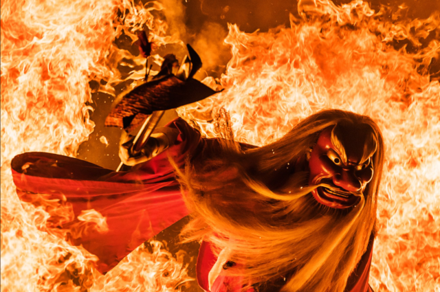 Photographer captures fantastical images of a fire-walking festival in northern Japan【Photos】