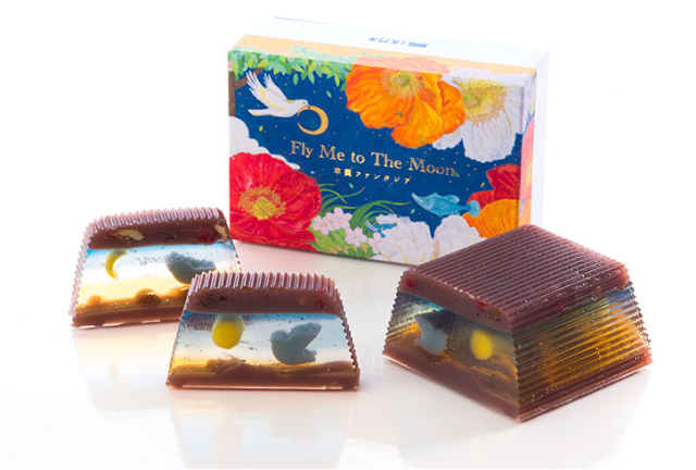 Sweet Japanese jelly treat offers a different scene with each slice from the same dessert