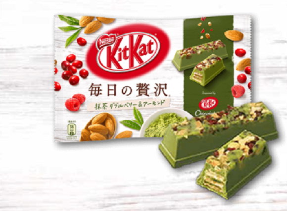 New Japanese Kit Kats combine matcha green tea, almonds and two berry flavors for luxurious treat