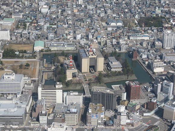 Prefectural capital building in Japan has a moat, ready for mobs of invaders or zombies