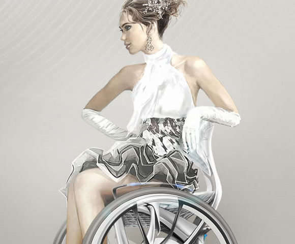 Gorgeous Japanese wheelchair merges mobility with elegant wedding dress styling