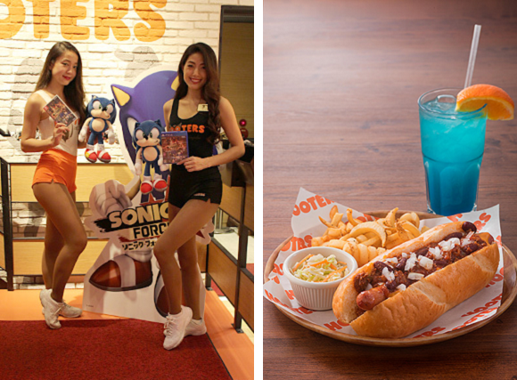 Sonic the Hedgehog goes to Hooters in Japan to celebrate the release of his new video game