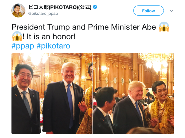 Donald Trump meets Pen-Pineapple-Apple-Pen singer Piko Taro in Japan