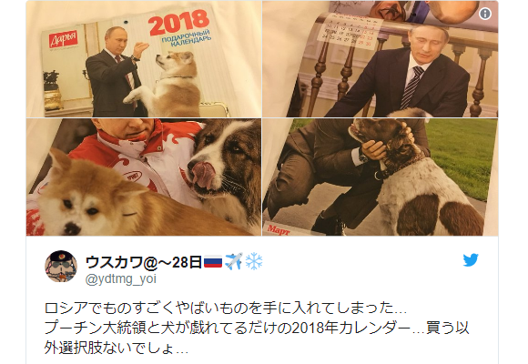 2018 Russian calendar features Vladimir Putin just hanging around with some dogs