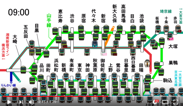 Hypnotic moving map of Tokyo's crazy rush hour trains almost makes them relaxing【Video】