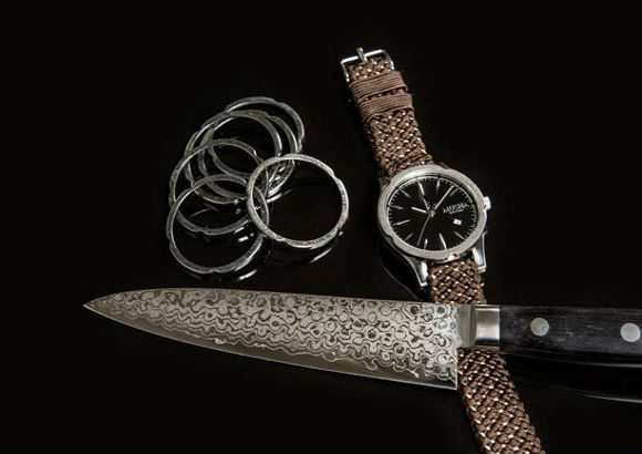 Sharpen your look with stylish Damascus steel watches modeled after Japanese blades