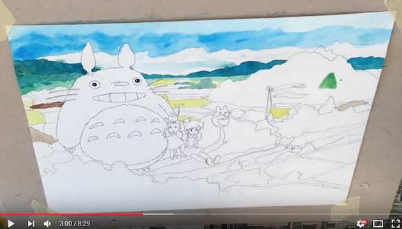 Ghibli characters come to life in time-lapse painting of magical My Neighbor Totoro scene 【Video】
