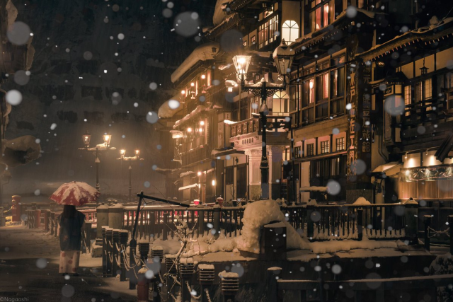 Breathtaking photos of one of Japan's most beautiful hot springs have us ready to brave the snow