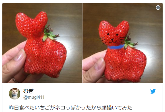 Cat-shaped strawberry proves that everything in Japan can be cute, even the fruit