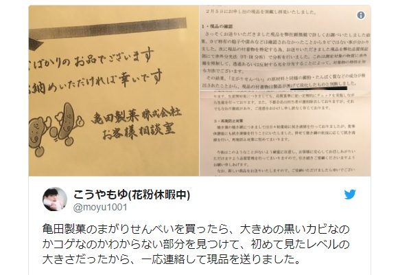 "Unsatisfied customer returns ""moldy"" Japanese cracker to company, receives an essay in return"