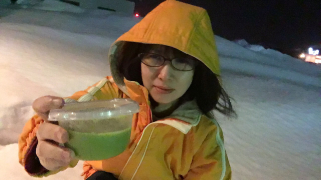 Making instant green tea pudding in the snow, just like they would have had to in ancient times