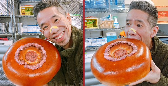 Tokyo's crazy huge sakura sweet bean bun makes Mr. Sato happier/fuller than we've ever seen him