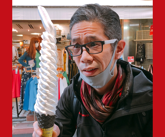 Mr. Sato lives it up like a Harajuku schoolgirl, eats Japan's longest soft serve ice cream cone