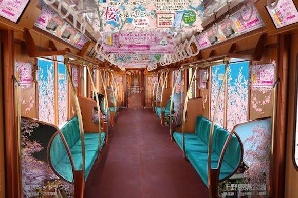 Enjoy hanami cherry blossom viewing on the Ginza Line Sakura Train in Tokyo