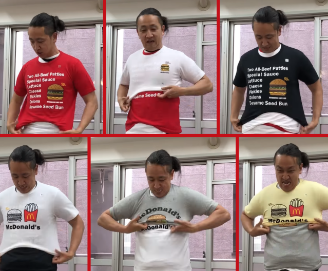 Will wearing 10 McDonald's Japan coupon T-shirts at once let you earn money for eating Big Macs?