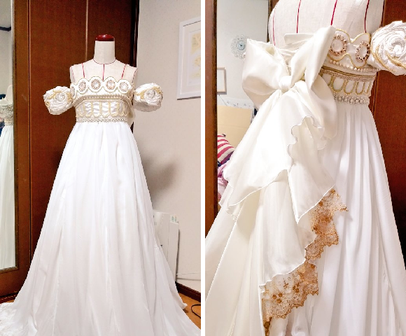 Matrimonial moon cosplay! Fan makes Sailor Moon wedding gown for friend in just one month【Pics】