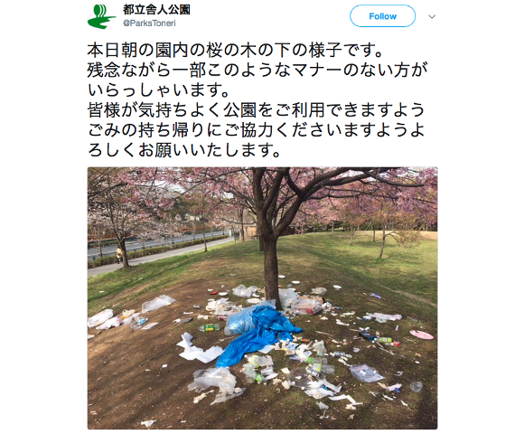 Japan's top sakura cherry blossom viewing spots littered with trash after hanami picnics