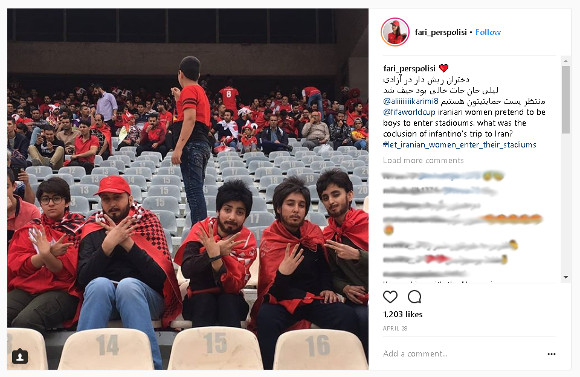 Iranian female soccer fans cross-dress to get into soccer stadium, netizens cheer