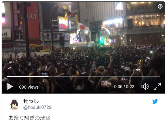 Tokyo's Shibuya goes crazy as soccer fans celebrate Japan's historic World Cup victory【Videos】