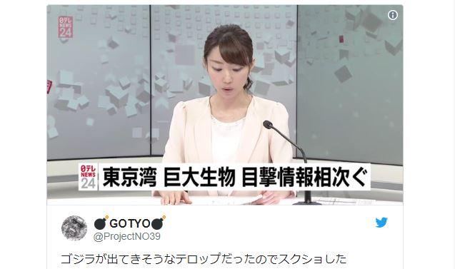"Godzilla? Japanese news broadcast reports ""giant creature"" in Tokyo Harbor"