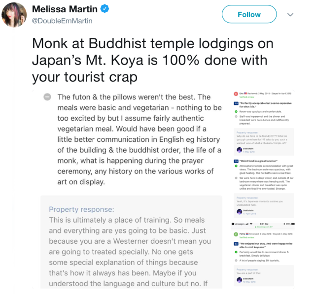 Buddhist priest at Japanese temple lodging goes viral for rude responses to tourist's bad reviews