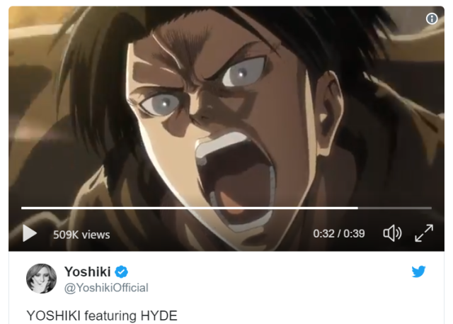 X Japan's Yoshiki, L'Arc-en-Ciel's Hyde preview co-op theme for Attack on Titan Season 3【Video】