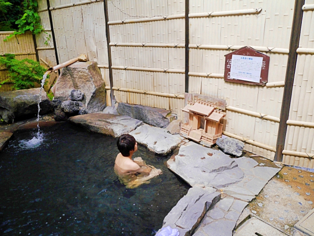 Saying a prayer can open a passage between men's and women's baths at this Japanese hot spring