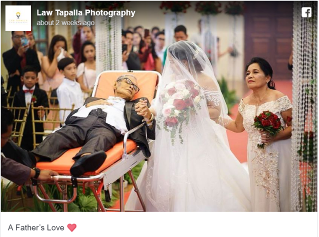 Terminally ill father accompanies bride down the aisle in tear-jerking Philippine wedding