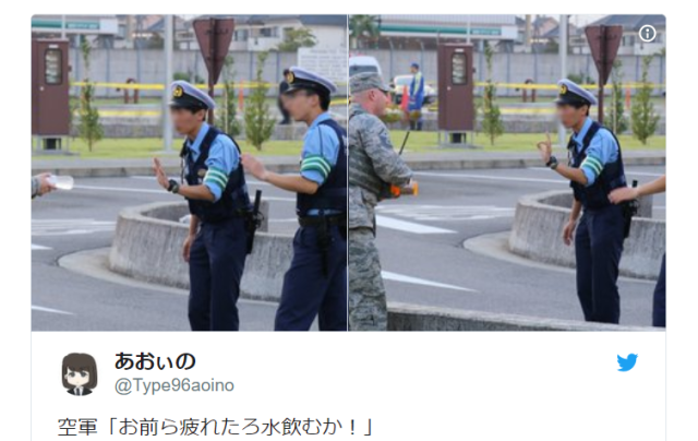 U.S. soldier's failed attempt to give Japanese policemen some cool drinks melts Internet's heart
