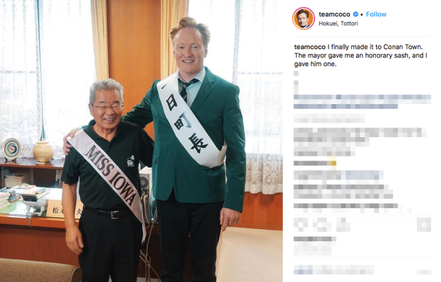 Conan O'Brien visits Conan Town in Japan…but things don't go entirely as planned