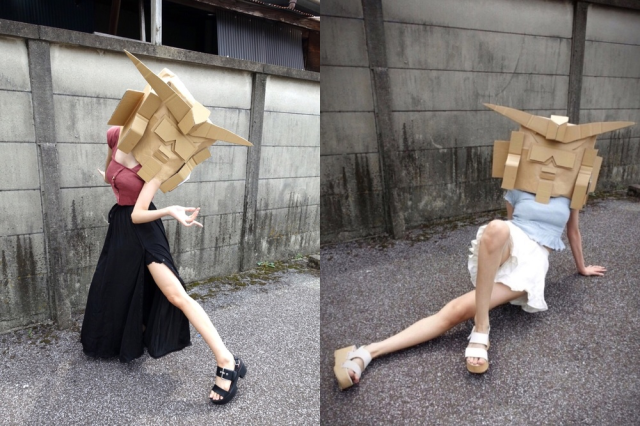 Japanese fashion app Wear has one user trying to make cardboard Gundam heads the new hot style