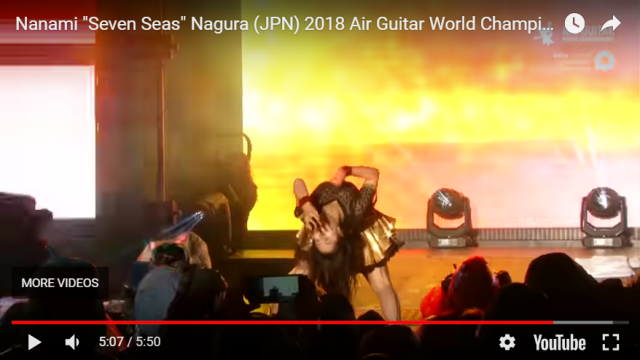 "Nanami ""Seven Seas"" Nagura wins 2018 Air Guitar World Championships in Finland【Video】"