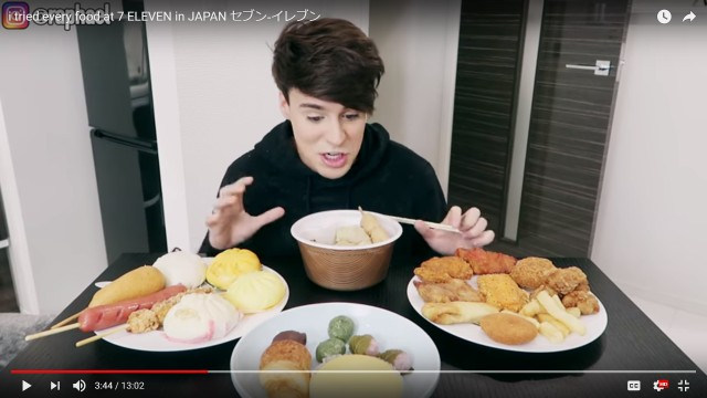 European YouTuber tries all of the food on the counter in Japanese 7-Eleven, loves it all