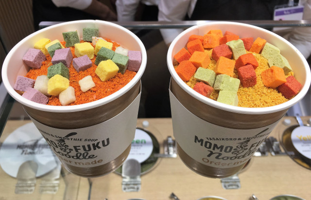 Colorful custom Cup Noodles sold at Momofuku Noodle in Osaka with 2,145 different varieties