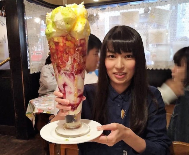 We did battle with this two-foot tall parfait at Kanariya in Osaka…and finished it!