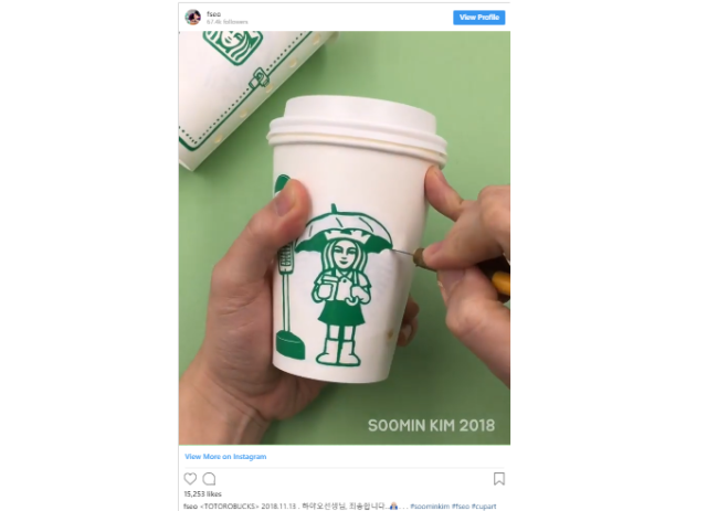 Korean illustrator brings My Neighbor Totoro scene alive with a Starbucks cup, markers【Video】