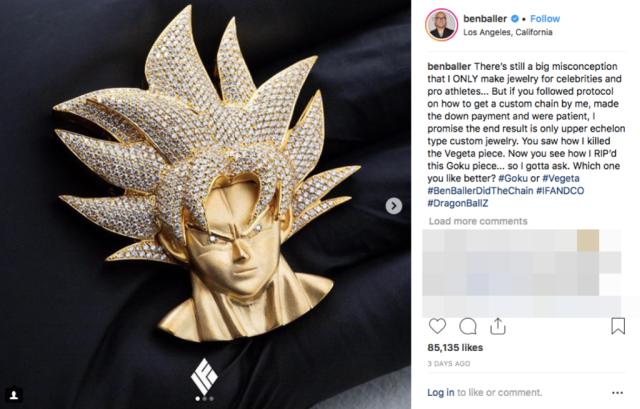 For the Dragon Ball fan who has everything: A gold super Saiyan Goku pendant with diamond hair