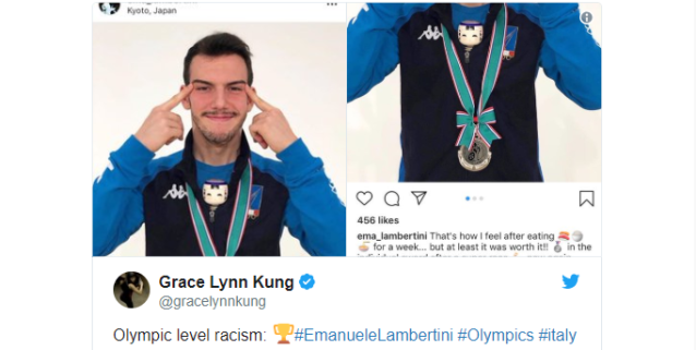 "Paralympic fencing medalist under fire for ""slanted eye"" photo on Instagram"
