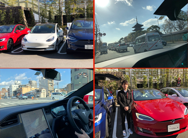 New meets old while testing a Tesla in Kyoto in honor of Japan's first Urban Superchargers
