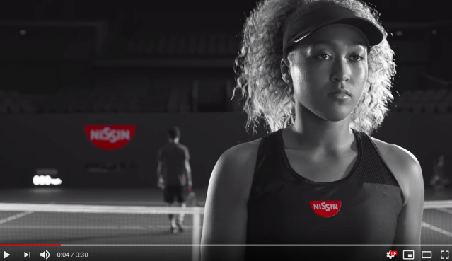 Naomi Osaka v Kei Nishikori: Tennis pros play with Japanese bats in Nissin cup noodles commercial