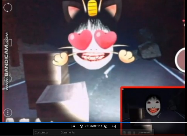 The terror of playing a Japanese horror video game with cute face filters