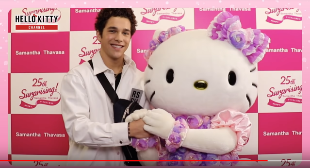 Hello Kitty lovestruck by American singer and YouTuber Austin Mahone in Tokyo