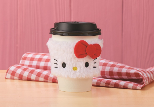Fluffy Hello Kitty complimentary cup sleeves lead promotional Kitty lineup at Lawson