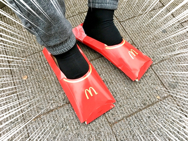 Let's make some stylish shoes out of McDonald's French fry boxes!