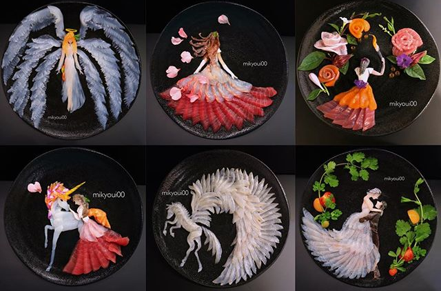 Japanese artist crafts beautiful Disney princesses, anime stars, and mythical beasts from sashimi