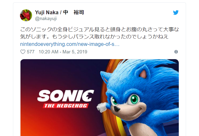 Even Sonic The Hedgehog S Original Creator Thinks Character S Live Action Movie Design Is Ugly Soranews24 Japan News