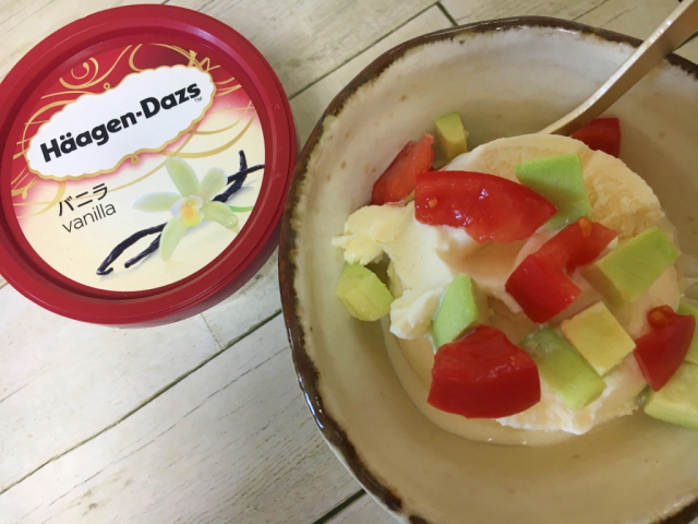 Häagen-Dazs Japan recommends ice cream with tomato and avocado, so we trust them and try it